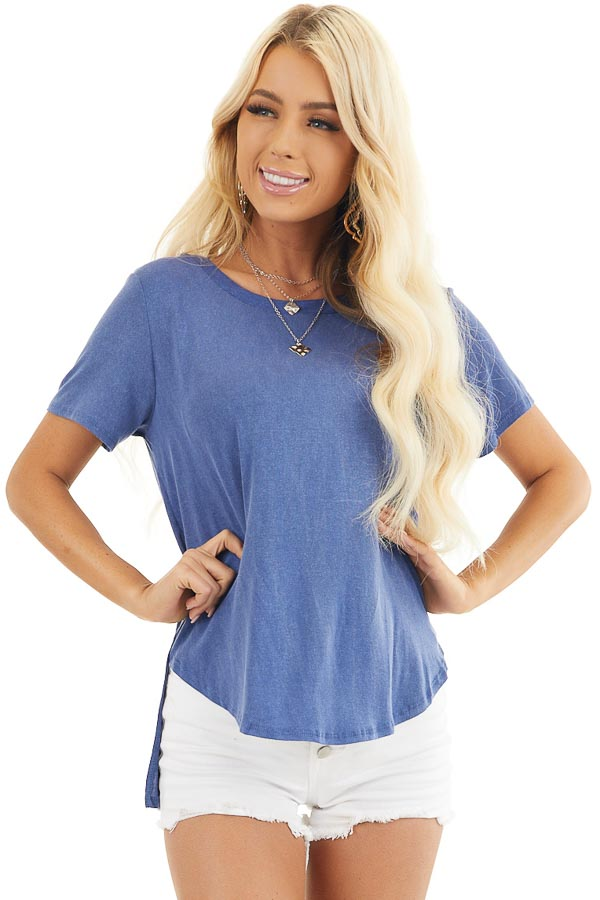 Dusty Blue Short Sleeve Top with Caged Back Detail front close up