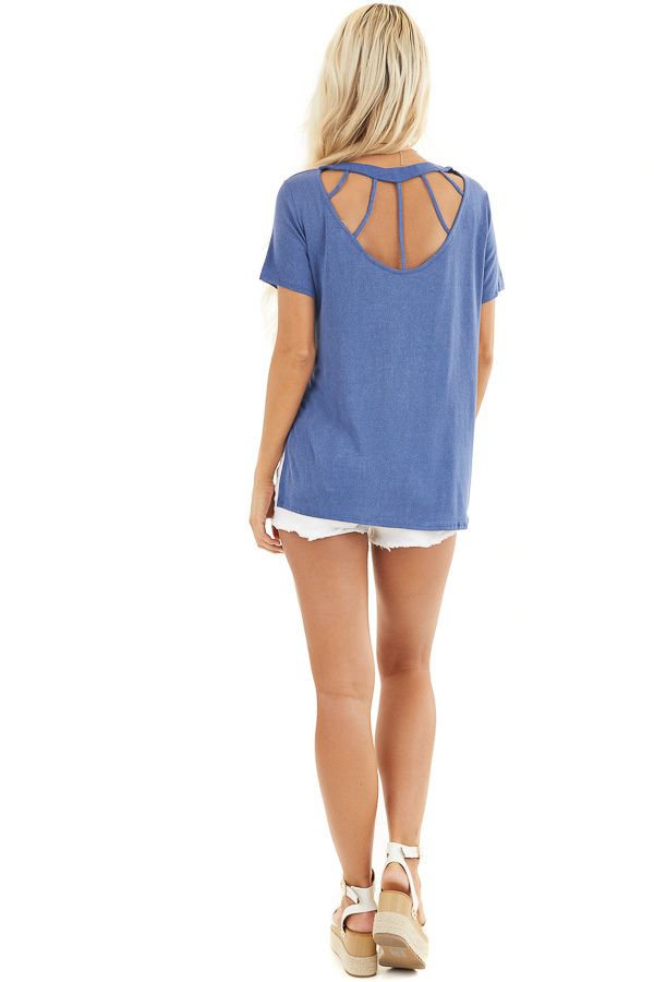 Dusty Blue Short Sleeve Top with Caged Back Detail back full body