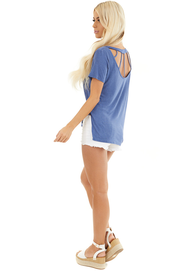 Dusty Blue Short Sleeve Top with Caged Back Detail side full body