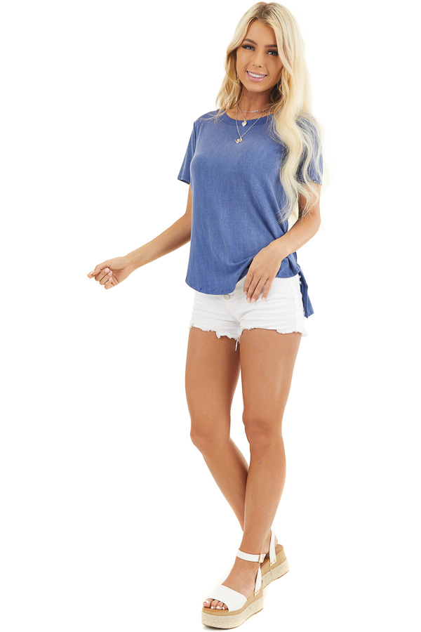 Dusty Blue Short Sleeve Top with Caged Back Detail front full body