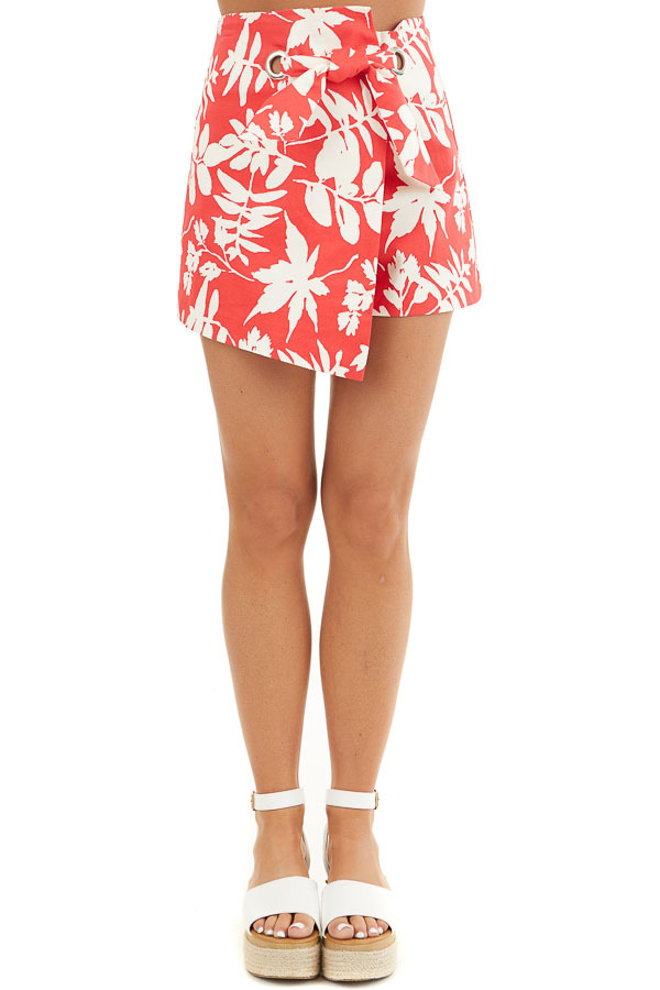 Tomato Red Tropical Print Shorts with Wrap Around Detail front view