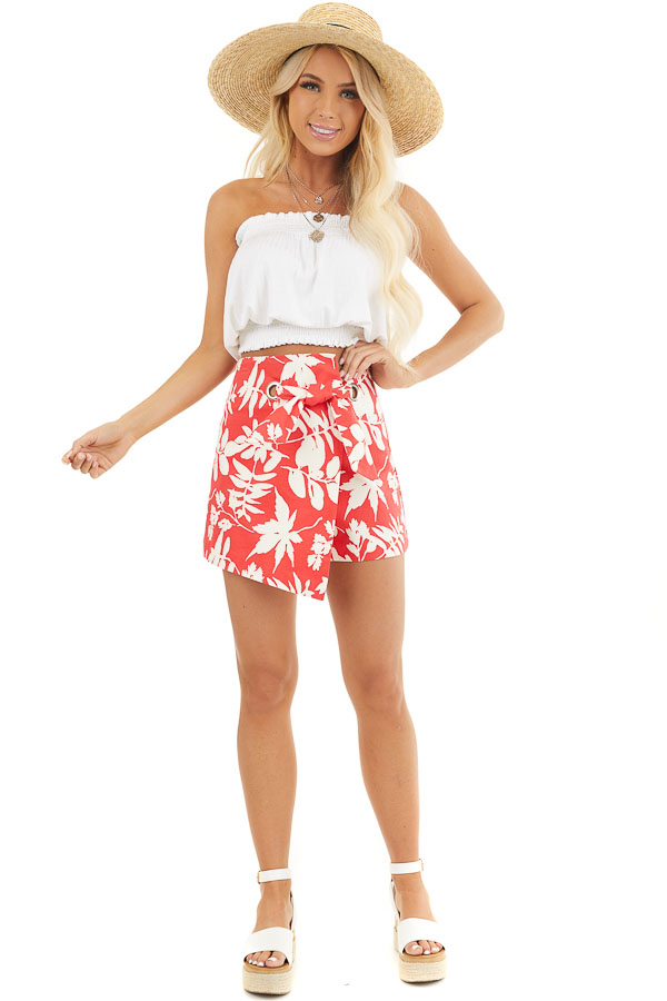 Tomato Red Tropical Print Shorts with Wrap Around Detail front full body