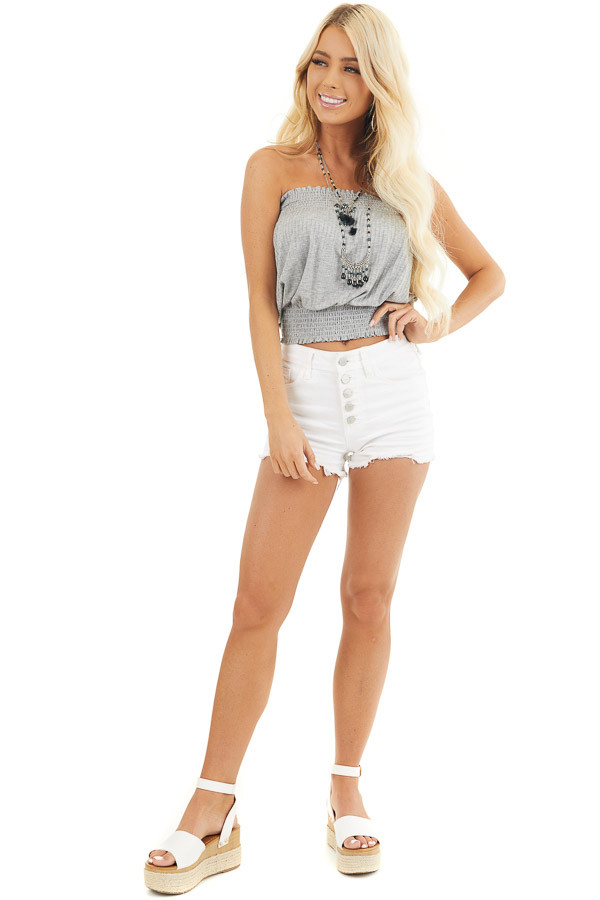 Heather Grey Sleeveless Ribbed Knit Top with Smocked Details front full body