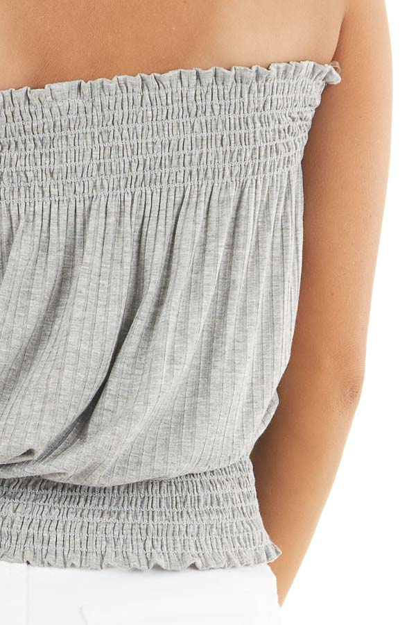 Heather Grey Sleeveless Ribbed Knit Top with Smocked Details detail
