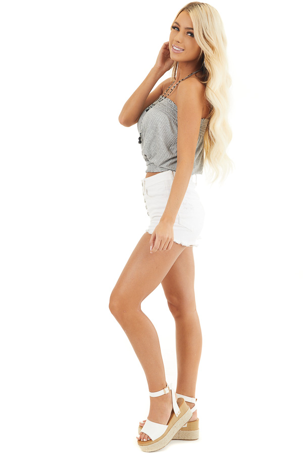 Heather Grey Sleeveless Ribbed Knit Top with Smocked Details side full body