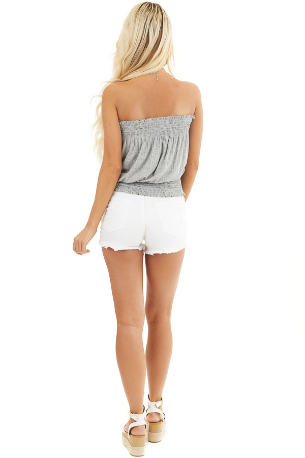 Heather Grey Sleeveless Ribbed Knit Top with Smocked Details back full body