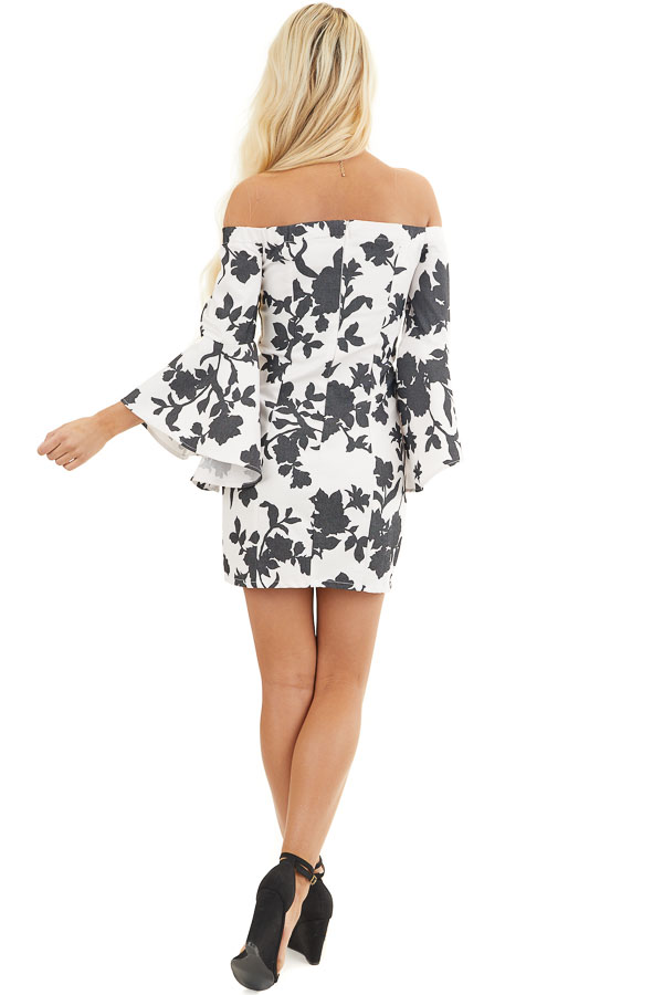 Black and White Floral Print Off Shoulder Bodycon Mini Dress back full body