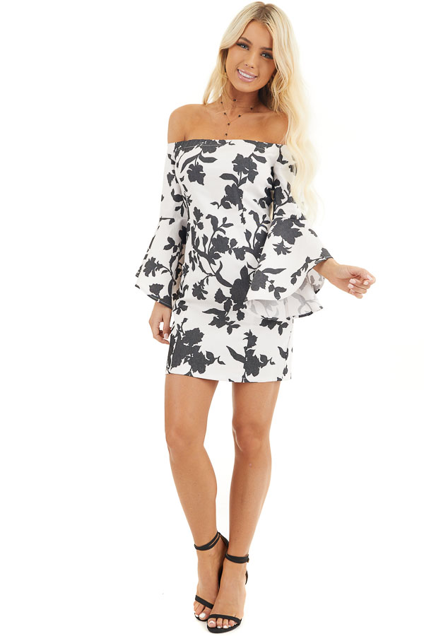 Black and White Floral Print Off Shoulder Bodycon Mini Dress front full body