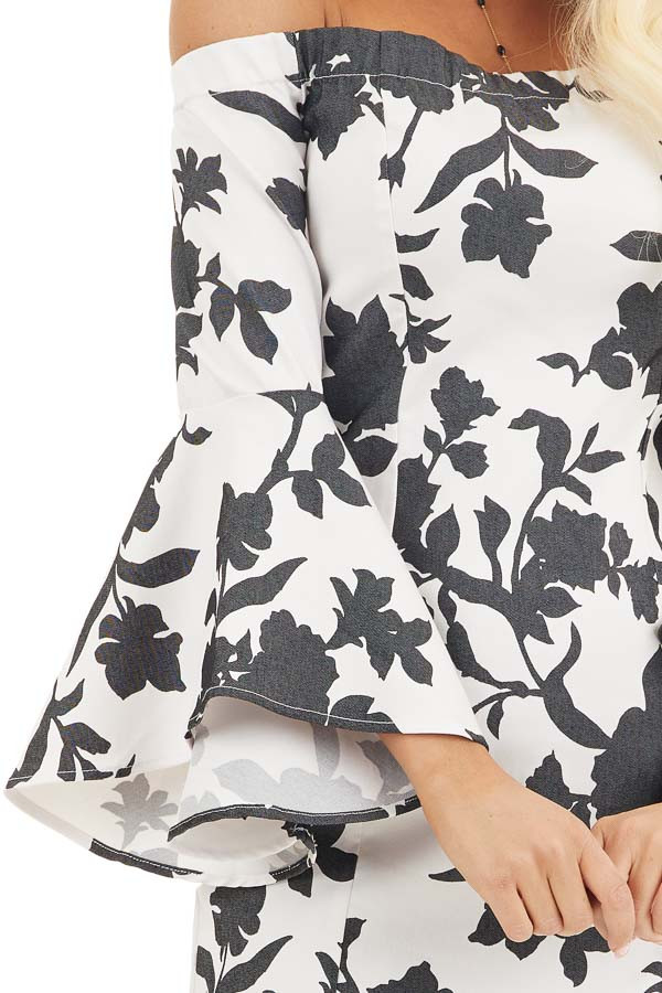 Black and White Floral Print Off Shoulder Bodycon Mini Dress detail