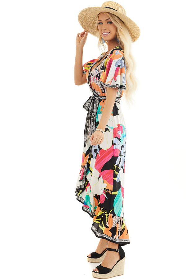 Black Multicolor Printed Surplice Maxi Dress with Waist Tie side full body