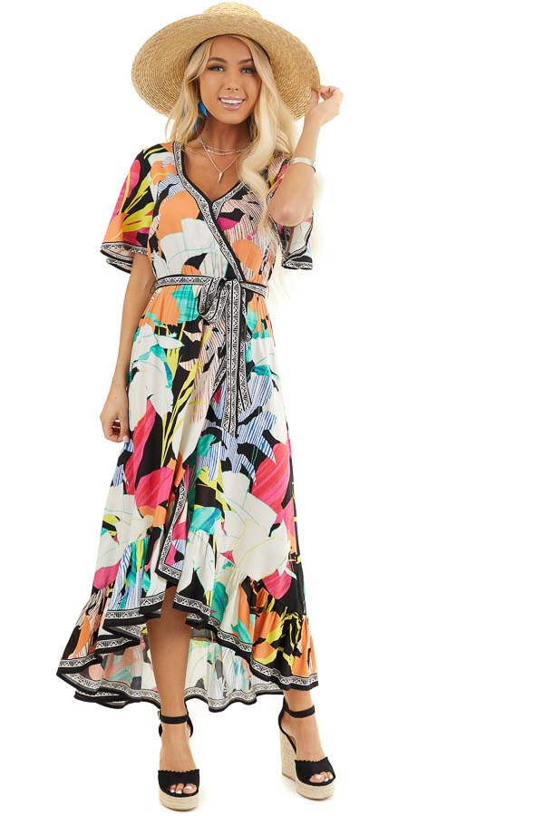 Black Multicolor Printed Surplice Maxi Dress with Waist Tie front full body