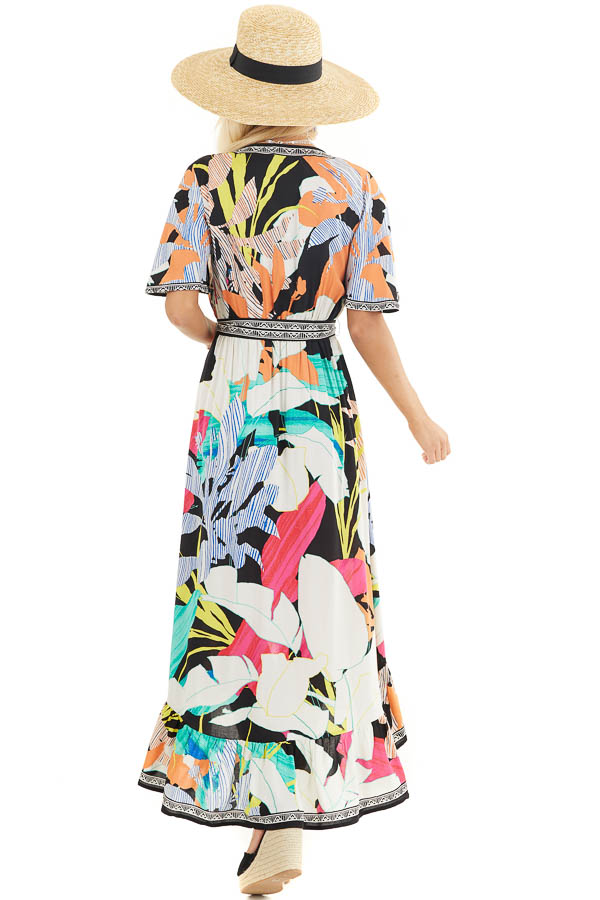 Black Multicolor Printed Surplice Maxi Dress with Waist Tie back full body