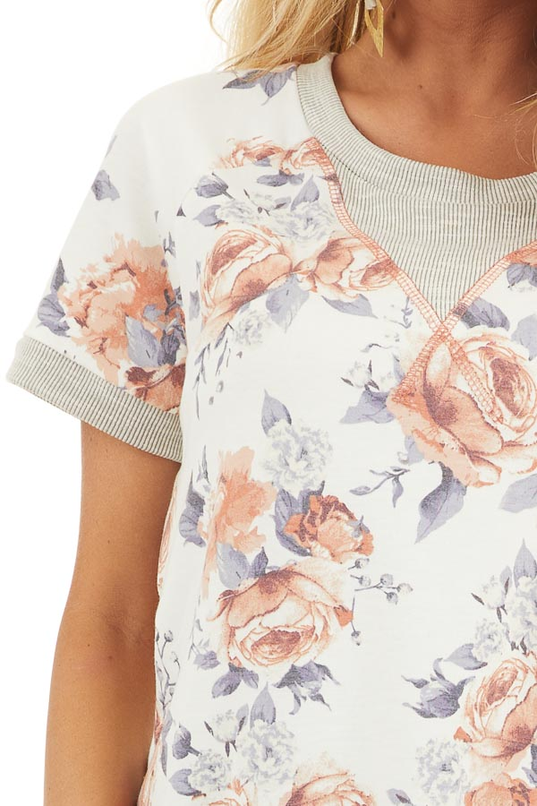 Ivory Floral Print Short Sleeve Knit Top with Ribbed Details detail