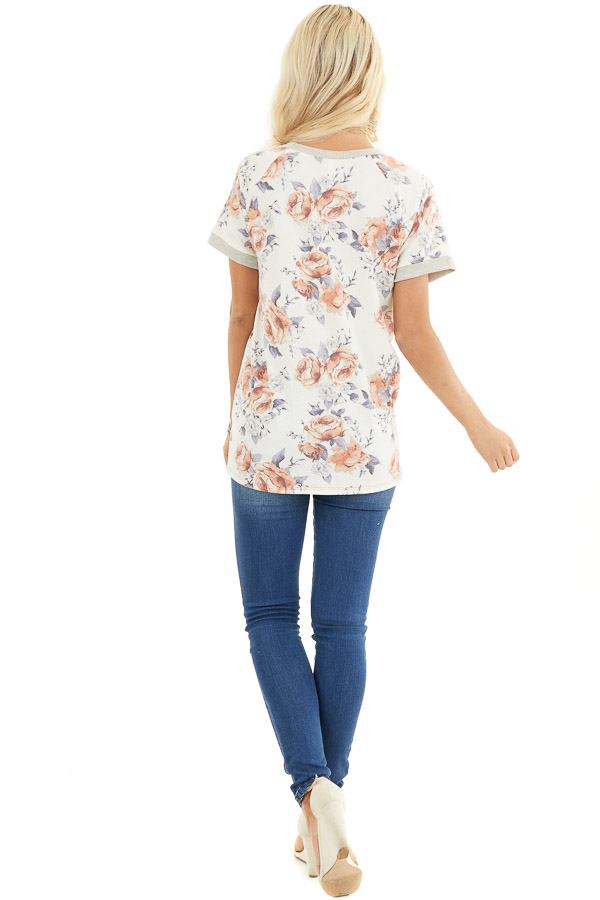 Ivory Floral Print Short Sleeve Knit Top with Ribbed Details back full body