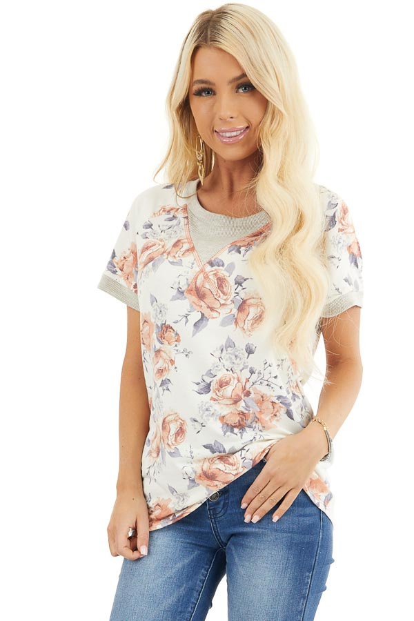 Ivory Floral Print Short Sleeve Knit Top with Ribbed Details front close up