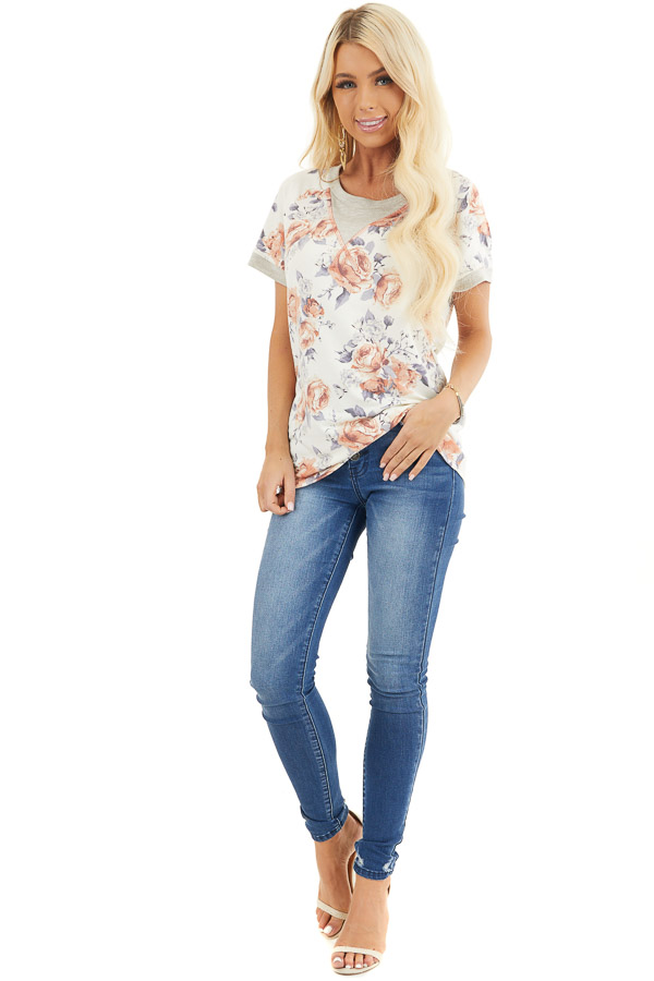 Ivory Floral Print Short Sleeve Knit Top with Ribbed Details front full body