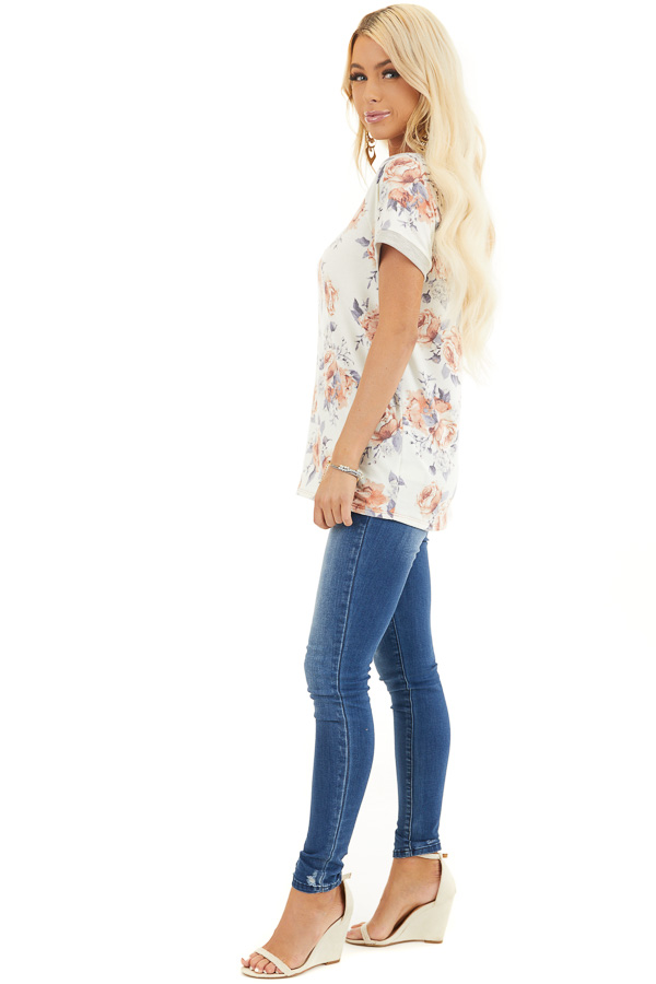 Ivory Floral Print Short Sleeve Knit Top with Ribbed Details side full body