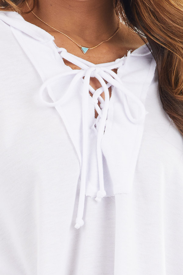 White Long Sleeve Knit Hooded Top with Lace Up Detail detail