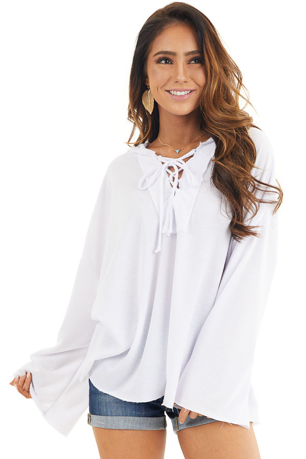 White Long Sleeve Knit Hooded Top with Lace Up Detail front close up