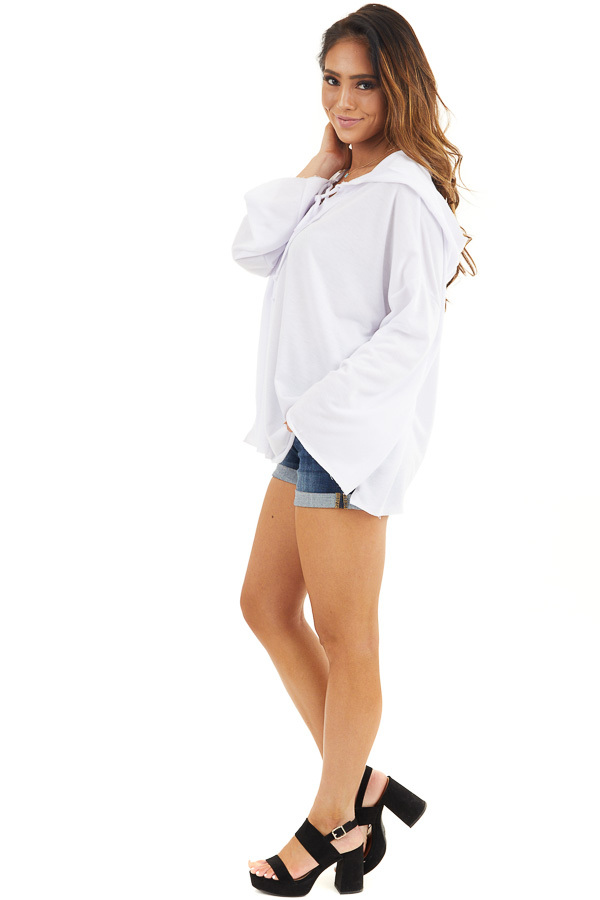 White Long Sleeve Knit Hooded Top with Lace Up Detail side full body