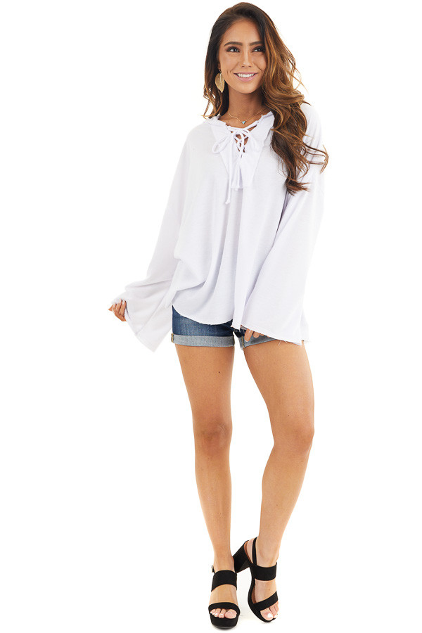 White Long Sleeve Knit Hooded Top with Lace Up Detail front full body