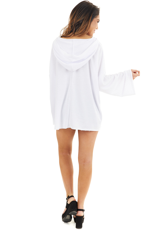 White Long Sleeve Knit Hooded Top with Lace Up Detail back full body