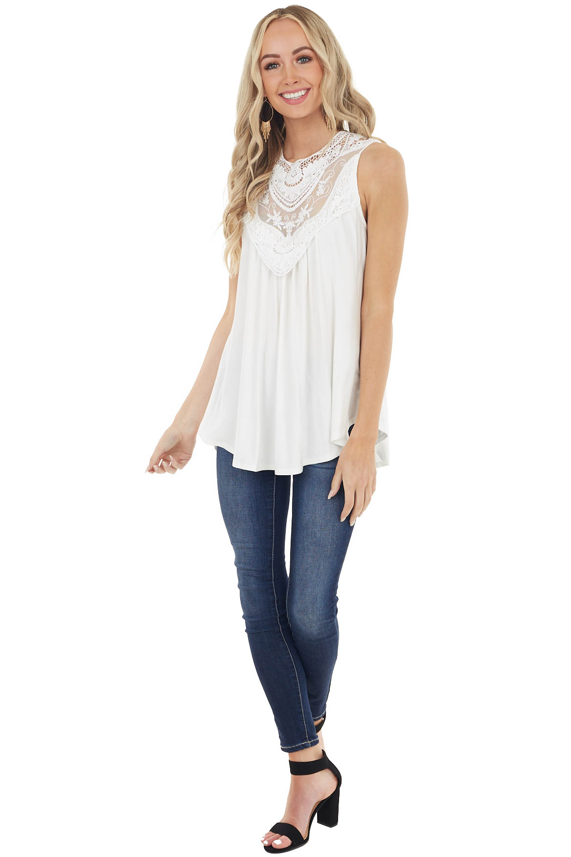 Off White Flowy Sleeveless Top with Sheer Crochet Detail