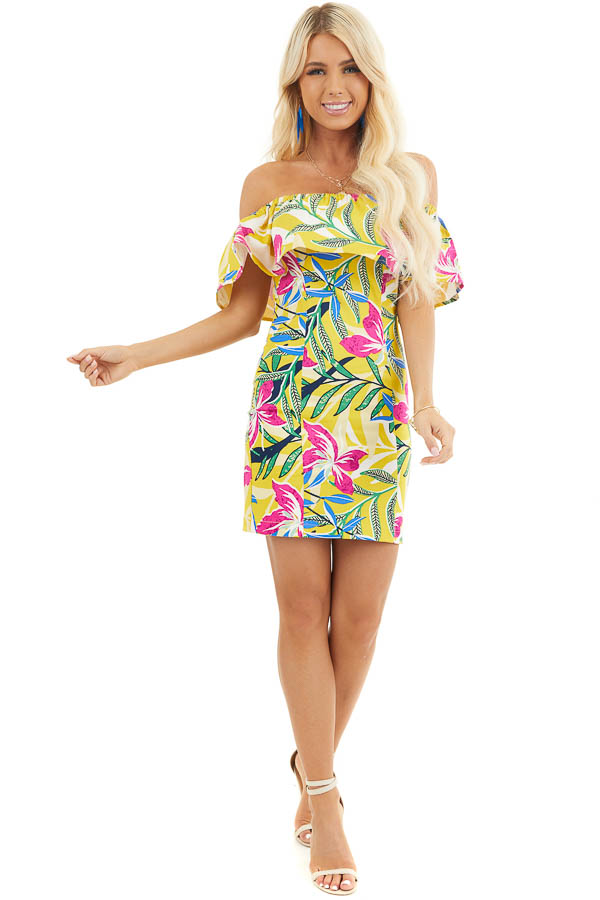 Yellow Floral Print Off Shoulder Bodycon Mini Dress front full body