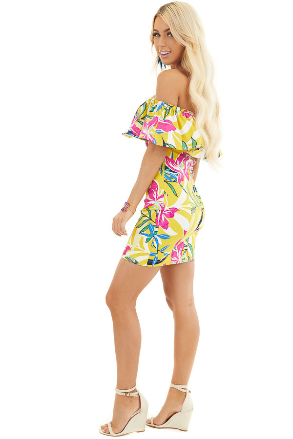 Yellow Floral Print Off Shoulder Bodycon Mini Dress side full body