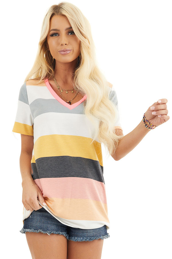 Multicolor Striped Short Sleeve V Neck Knit Top front close up