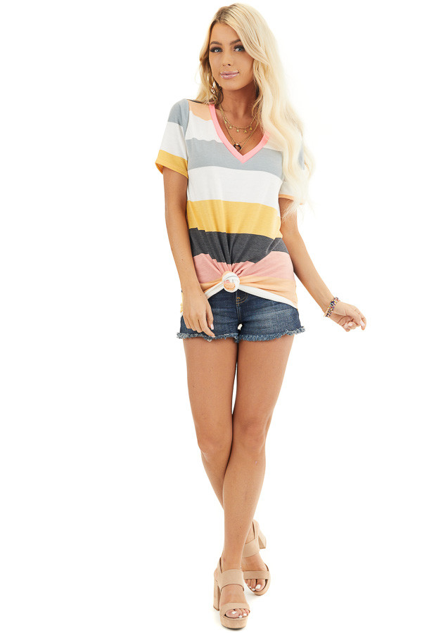 Multicolor Striped Short Sleeve V Neck Knit Top front full body