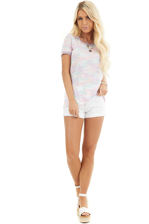 Pastel Multicolor Camo Print Short Sleeve Knit Top front full body