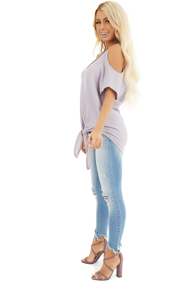 Lavender Waffle Knit Cold Shoulder Top with Front Tie side full body