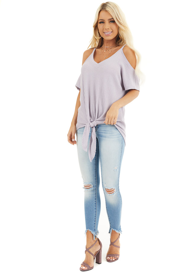Lavender Waffle Knit Cold Shoulder Top with Front Tie front full body