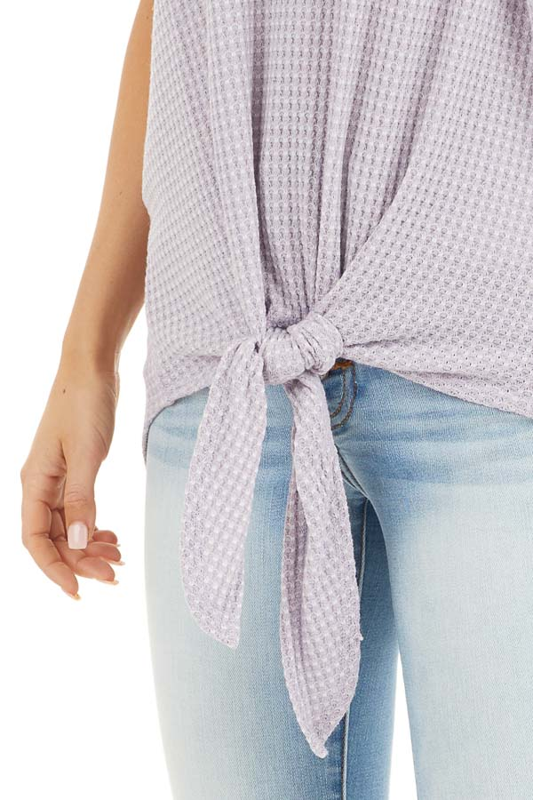 Lavender Waffle Knit Cold Shoulder Top with Front Tie detail