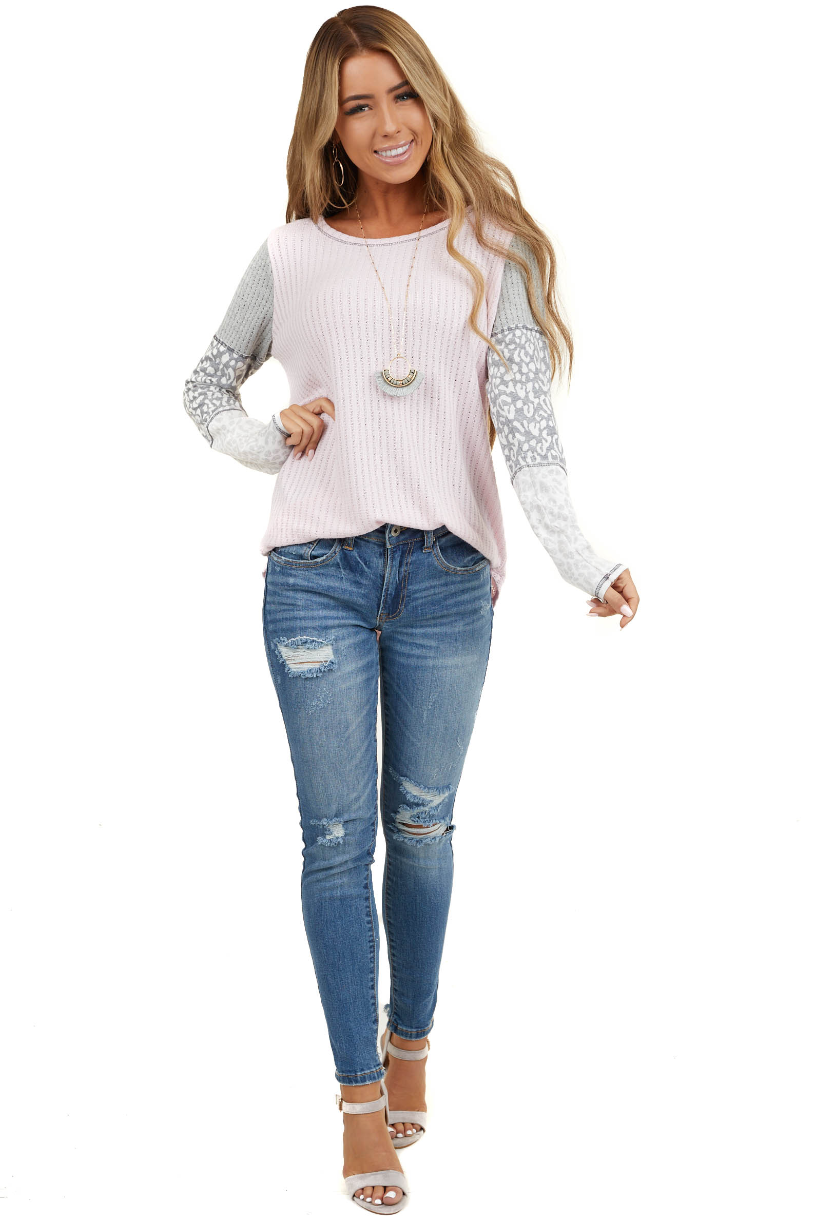 Blush Pink Knit Top with Leopard Print Contrast Sleeves