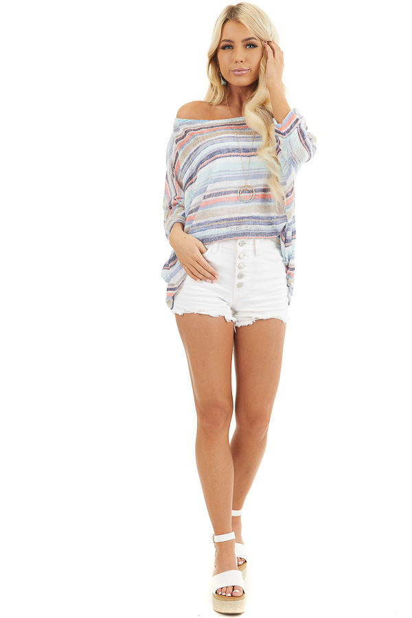 Blue Multicolor Stripe Lightweight Knit Top with 3/4 Sleeves front full body