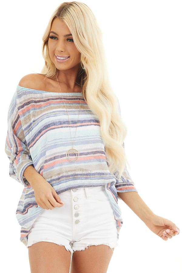 Blue Multicolor Stripe Lightweight Knit Top with 3/4 Sleeves front close up