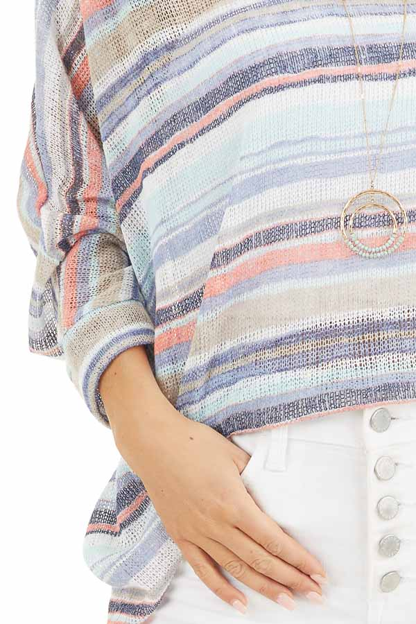 Blue Multicolor Stripe Lightweight Knit Top with 3/4 Sleeves detail