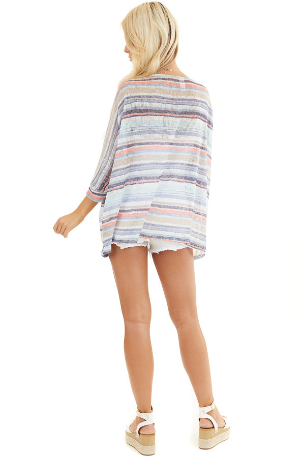 Blue Multicolor Stripe Lightweight Knit Top with 3/4 Sleeves back full body