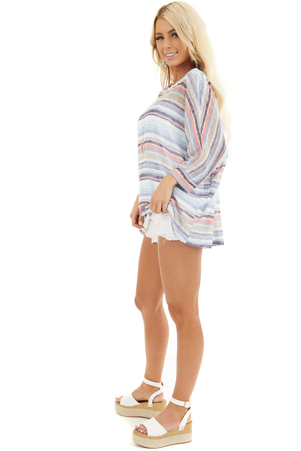 Blue Multicolor Stripe Lightweight Knit Top with 3/4 Sleeves side full body
