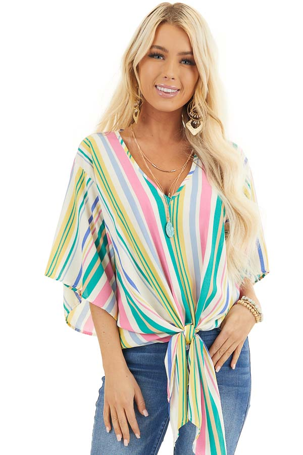 Green Multicolor Vertical Striped Woven Top with Front Tie front close up