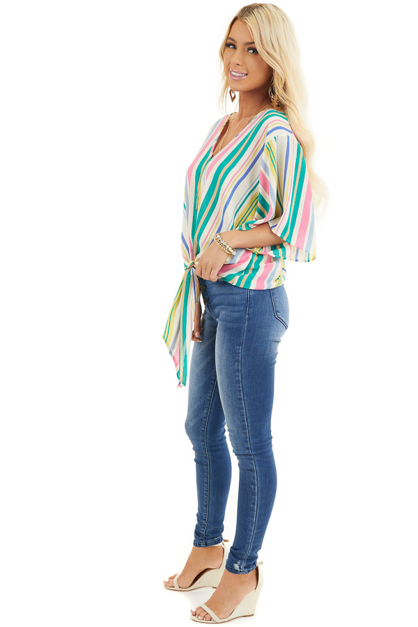 Green Multicolor Vertical Striped Woven Top with Front Tie side full body