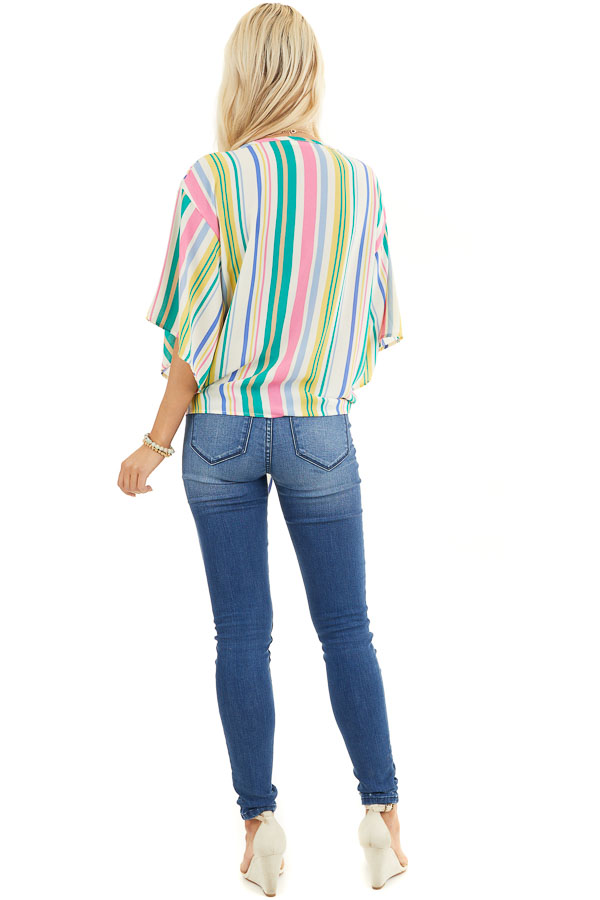 Green Multicolor Vertical Striped Woven Top with Front Tie back full body