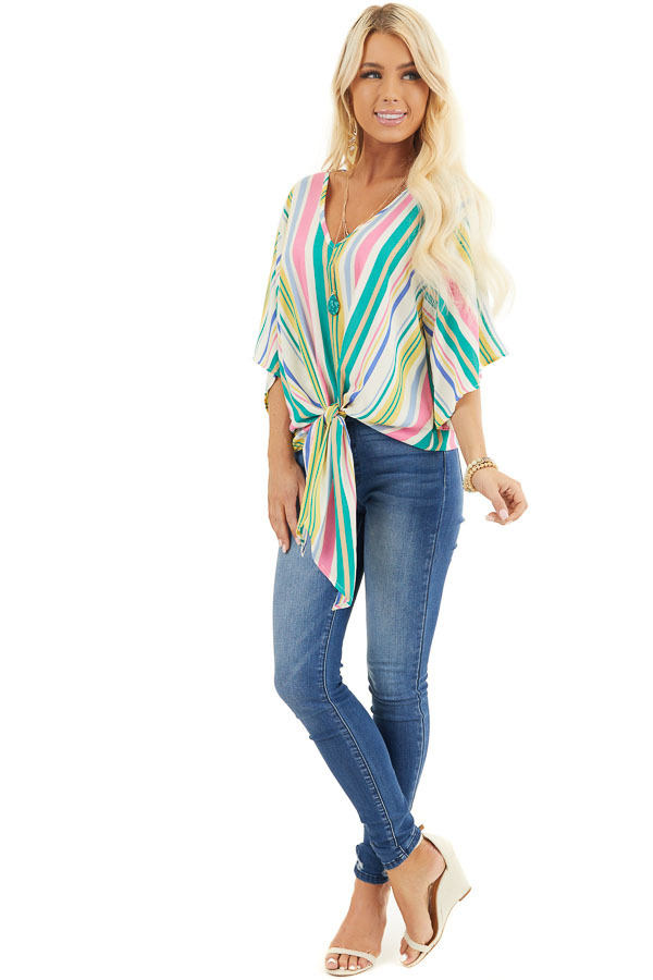 Green Multicolor Vertical Striped Woven Top with Front Tie front full body