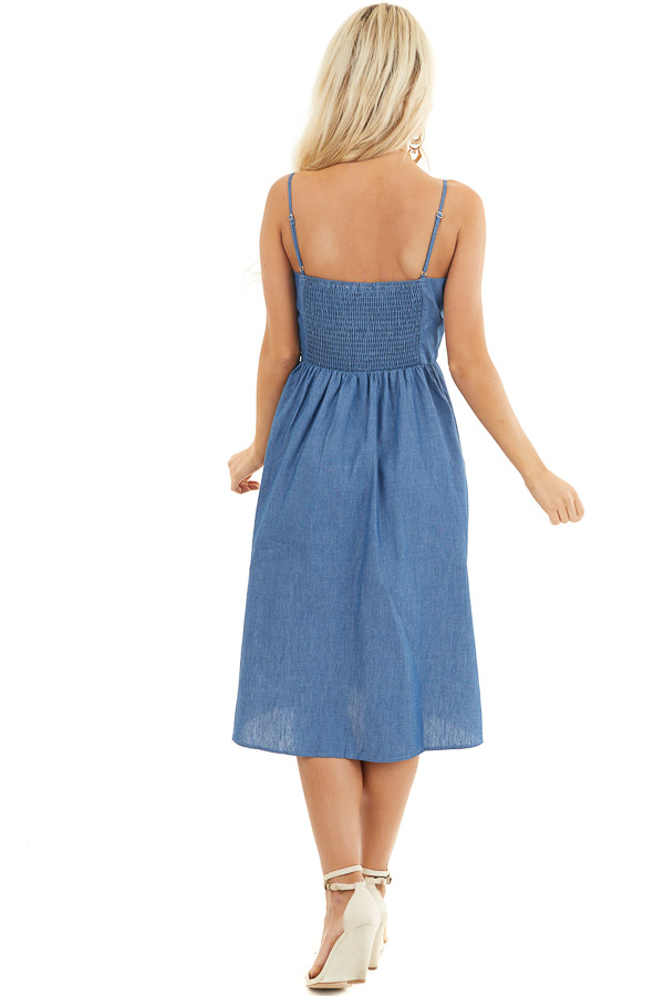 Denim Blue Button Up Sleeveless Short Dress with Pockets back full body
