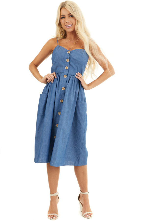 Denim Blue Button Up Sleeveless Short Dress with Pockets front full body