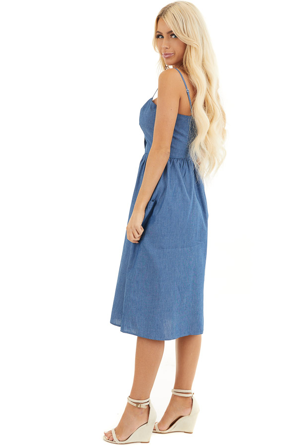 Denim Blue Button Up Sleeveless Short Dress with Pockets side full body