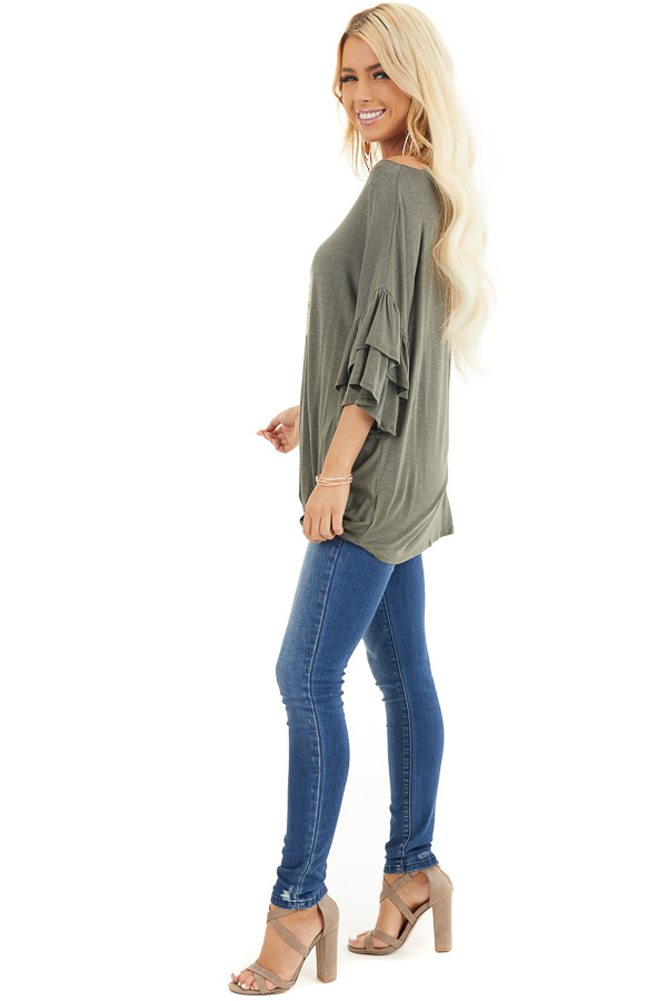 Olive Green Top With Ruffle Sleeves and Front Twist Detail side full body