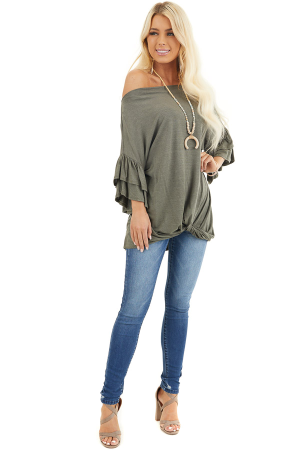 Olive Green Top With Ruffle Sleeves and Front Twist Detail front full body